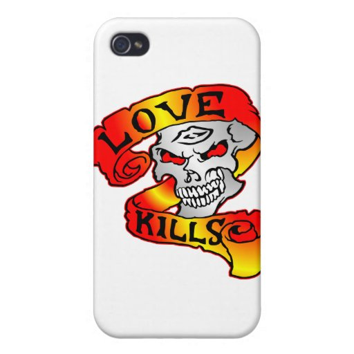 Liebe tötet Schädel-Tätowierung iPhone 4/4S Hülle