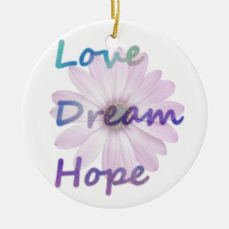 Liebe, Traum, Hoffnungs-Gänseblümchen-Verzierung Rundes Keramik Ornament