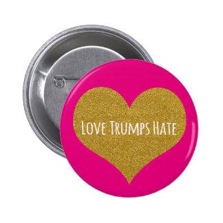 Liebe-Trumpf-Hass-GoldGlitter-Herz-Knopf Runder Button 5,7 Cm