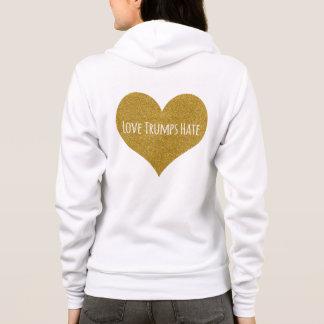 Liebe-Trumpf-Hass-GoldGlitter-Herz machen oben Hoodie