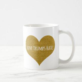 Liebe-Trumpf-Hass-GoldGlitter-Kaffee-Tasse Kaffeetasse