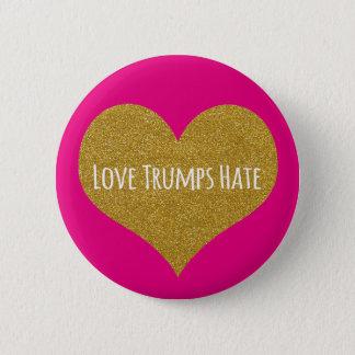 Liebe-Trumpf-Hass-GoldGlitzer-Herz-Knopf Runder Button 5,7 Cm