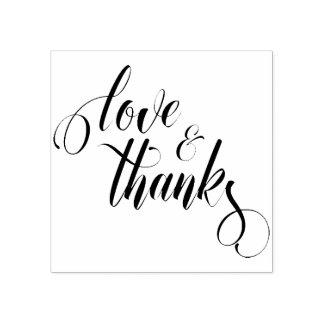 Liebe u. Dank arbeitt Skript-Typografie aus Gummistempel