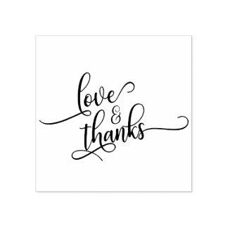 Liebe u. Dank in der hübschen Skript-Typografie Gummistempel