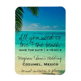 Liebe u. die Strand-Hochzeit retten Eckiger Magnet