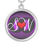 Liebe u. Freundschafts-Herz-lila dunkle Halskette