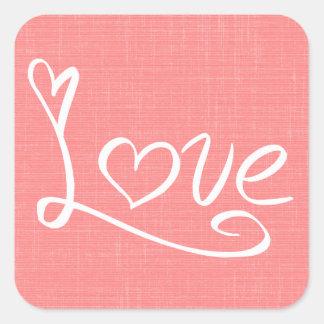 Liebe u. Herzen rot, rosa Hochzeit/Brautparty Quadratischer Aufkleber