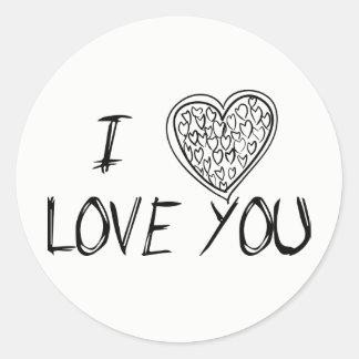 Liebe u. Herzen schwarz u. Weiß - Hochzeit, Runder Aufkleber