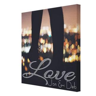 Liebe überlagerte personalisiertes   leinwanddruck