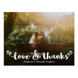 Liebe-und Dank-Bürsten-Hochzeits-Foto danken Ihnen Postkarte