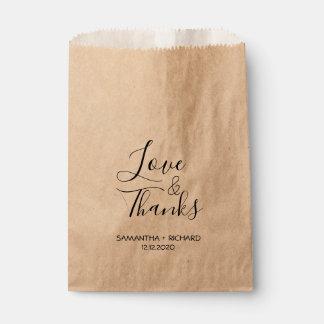 Liebe und Dank, die Wedding sind Geschenktütchen