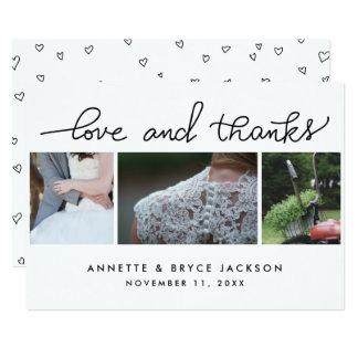 Liebe und Dank-niedliches Skript, das drei Fotos 12,7 X 17,8 Cm Einladungskarte