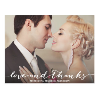 Liebe-und Dank-Skript-Überlagerung Postkarten