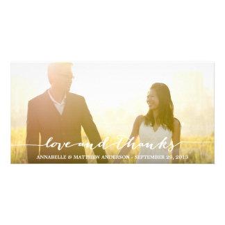 Liebe-und Dank-Skript-Überlagerungs-Hochzeit Karte