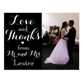 Liebe und Dank von Herrn und von Frau Wedding Postkarte
