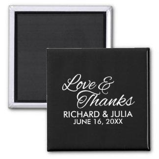 Liebe-und des Dank-Skript-| Gastgeschenk Hochzeit Quadratischer Magnet