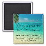 Liebe und die Strand-Hochzeit retten Quadratischer Magnet