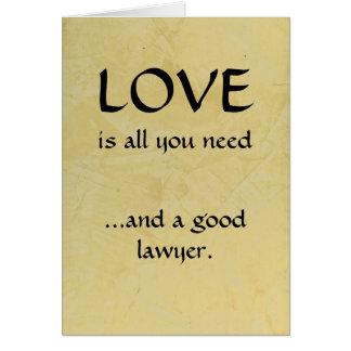 Liebe und ein guter Rechtsanwalt Karte