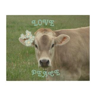 Liebe-und FriedensBlumen-Kuh Holzleinwand