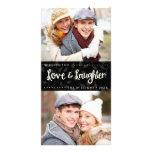Liebe-und Gelächter-vertikale Feiertags-Foto-Karte Fotogrußkarten