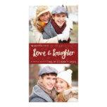 Liebe-und Gelächter-vertikale Feiertags-Foto-Karte Photokarte