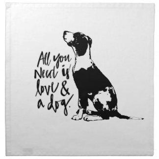 Liebe und Hund Serviette