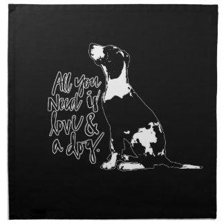 Liebe und Hund Stoffserviette
