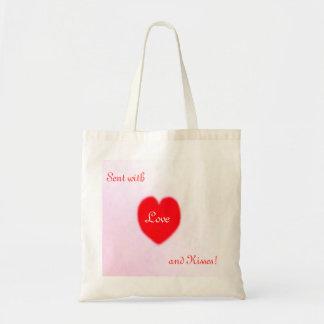 Liebe und Küsse!  Taschen-Tasche Budget Stoffbeutel