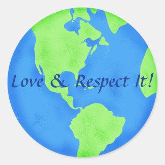 Liebe-und Respekt-Erdkugel-blaues Grün Runder Aufkleber