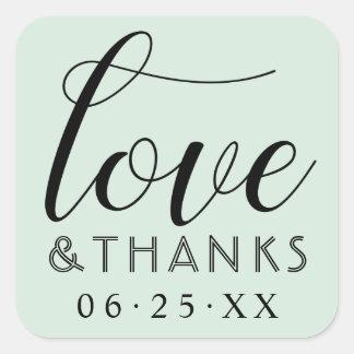 Liebe und tadellose grüne Hochzeit des Dank-| Quadratischer Aufkleber