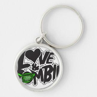 Liebe-und Zombie-Hipster-Logo Keychain Silberfarbener Runder Schlüsselanhänger