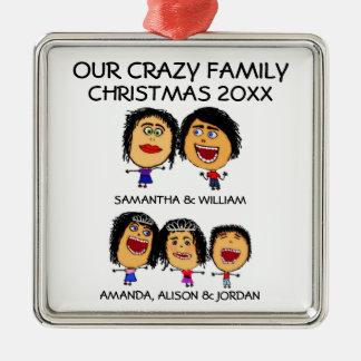 Liebe unsere drei verrückte Kinderverzierung Quadratisches Silberfarbenes Ornament