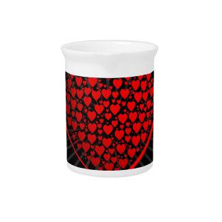 Liebe, Valentine, Tag, Herz, Frauen, Rosa, Rose Getränke Pitcher