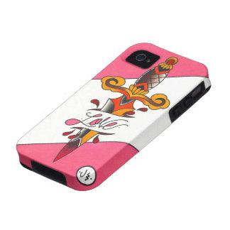 Liebe verletzt traditionellen Tätowierungs-Dolch Vibe iPhone 4 Hüllen