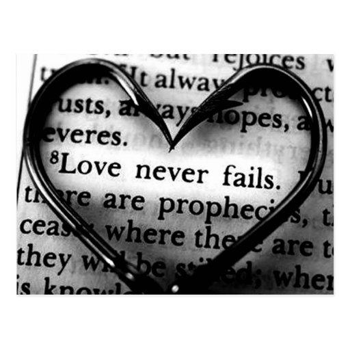 Liebe versagt nie postkarten