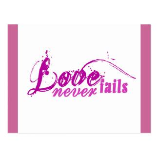 Liebe versagt nie postkarte