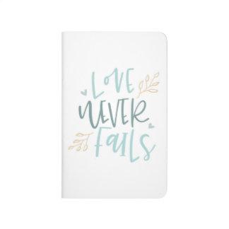 Liebe versagt nie Taschen-Zeitschrift Taschennotizbuch