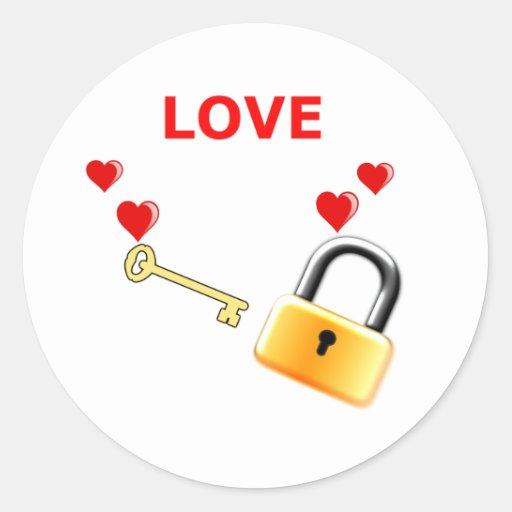 Liebe-Verschluss-Schlüssel Runde Aufkleber