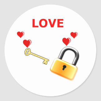 Liebe-Verschluss-Schlüssel Runder Aufkleber