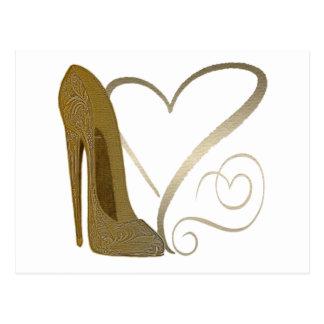 Liebe-Vintager Stilett-Schuh und Herzen Postkarte
