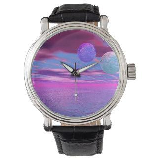 Liebe-Vögel, abstrakte rosa und lila Leidenschaft Uhr