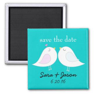 Liebe-Vogel-Aqua-Save the Date Magnet Quadratischer Magnet