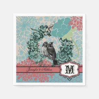 Liebe-Vögel auf Blumenwreath-Wedding Servietten