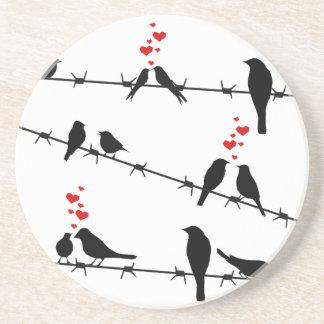 Liebe-Vögel auf einem Draht Sandstein Untersetzer
