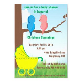Liebe-Vogel-Baby-Duschen-Einladung (Gelb) 12,7 X 17,8 Cm Einladungskarte
