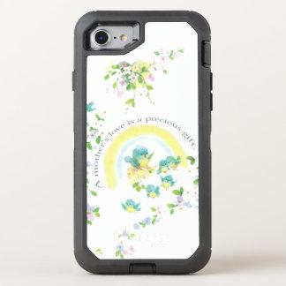 Liebe-Vögel der Mutter blaue Tages OtterBox Defender iPhone 8/7 Hülle
