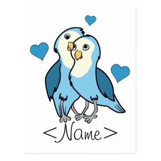 Liebe-Vögel des Valentines blaue Tagesmit Herzen Postkarte