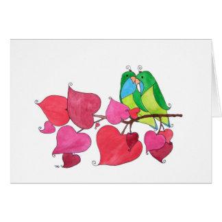 "Liebe-Vögel, ""Glückwünsche "" Grußkarte"
