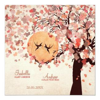 Liebe-Vögel - Hochzeit im Herbst Quadratische 13,3 Cm Einladungskarte