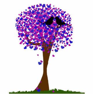 Liebe-Vögel in einem Baum der Herzen - Winter-Lieb Freistehende Fotoskulptur